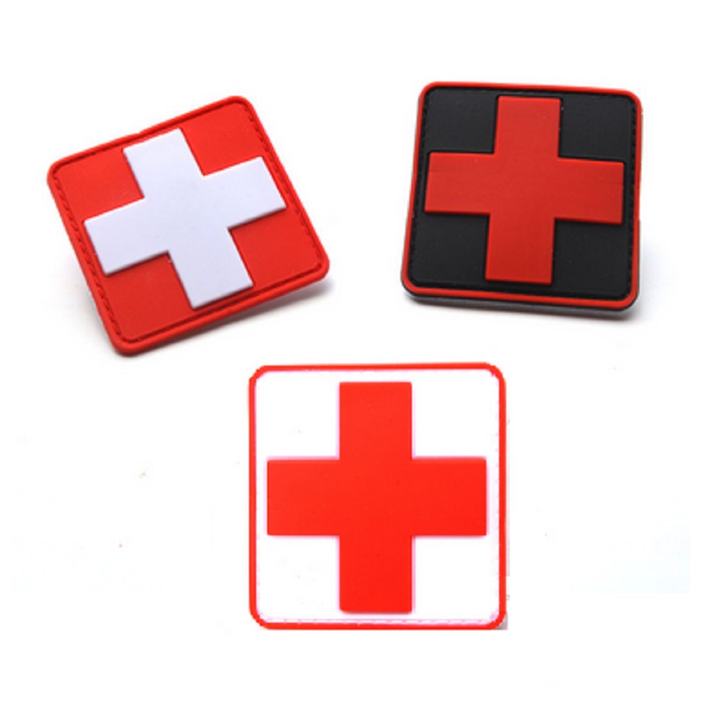 3pcs/lot 3D PVC Glue Red Cross medical rescue morale patch Tactical Army Morale Badge Red Cross medical rescue Logo patches