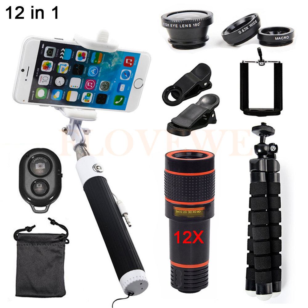 12X Telescopic lens Wide Angle Macro Lentes Fisheye 12X Telephoto Zoom Lens Telescope For iPhone 5 5s 6 6s 7 Xiaomi Cell Phone