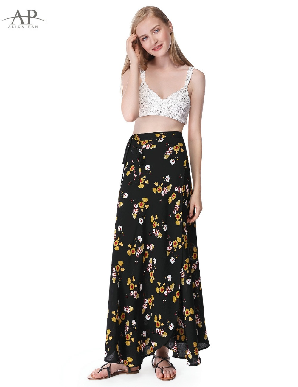 2017 Women Summer Boho New Floral Printed Skirts Alisa Pan High Waist Pleated Ankle Length Skirt Casual Holiday Skirt AS01041BK