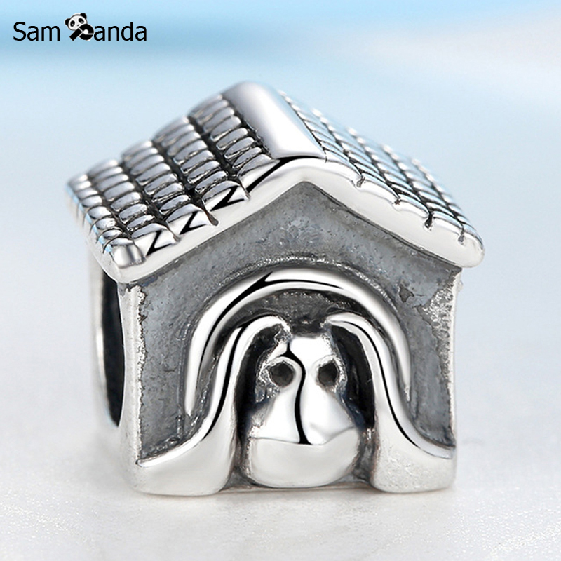 Sam Panda Authentic 925 Sterling Silver Bead Charm Antique European Dog House Beads Fit Bracelets & Bangles DIY Jewelry SS0783